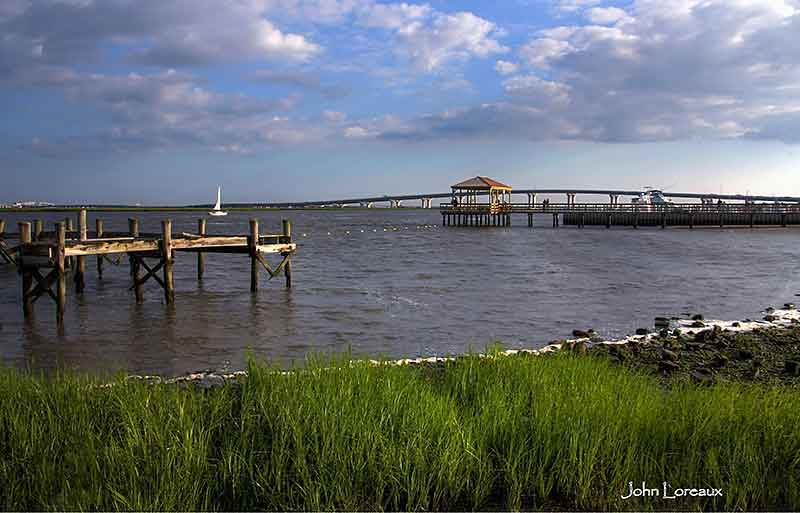 View of the bay in Somers Point, NJ >